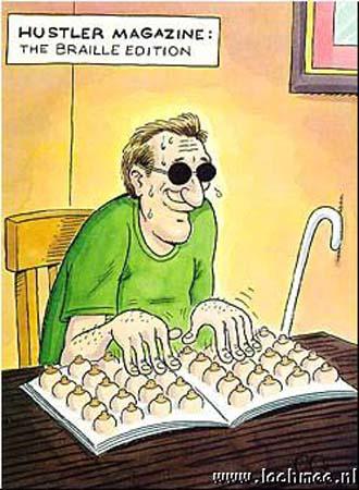 Man leest brailleboek waarin afbeeldingen van borsten staan