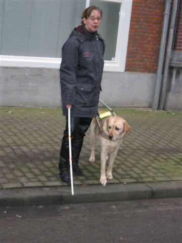 Kim en geleidehond Zeppo steken de straat over